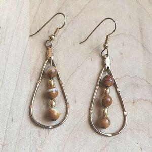 Teardrop Agate Beaded Dangle Gold Tone Earrings